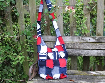 Stylish upcycled cross body wool bag in red, white & navy from recycled wool knitwear patchwork style. OOAK Fully lined. Handmade in UK