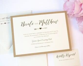Wood-grain Rustic Wedding Invitation, Ivory, Brown, Light Brown, Taupe, Heart, Country, Simple, Modern, Romantic, Rustic Love Design, Sample