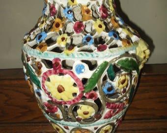 Italian Majolica Decorative Vase , Vintage Pierced Majolica Vase , Vintage Studio Pottery