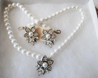Vintage, Retro  Faux pearl choker and Rhinestone earrings and choker necklace - pierced earrings - Estate find !