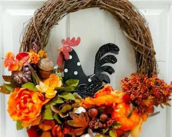 Fall Wreath, Autumn Wreath, Rooster Wreath, Grapevine Wreath, Fall Grapevine Wreath, Fall Rooster Ereath, Autumn Decor, Fall Door Wreath
