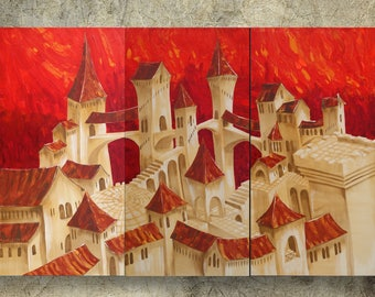 Surrealism old town paintings 120x180x4 cm orange XXL OFFICE decor a38 original abstract art by Ksavera
