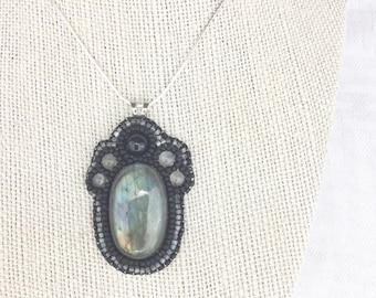 Labradorite, Onyx, and Moonstone Pendant