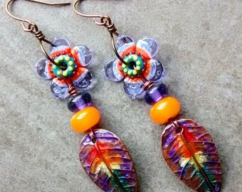 RESERVED SOLD to Anita!  rainbow artisan handmade dangle earrings, boho unique, lampwork beads copper resin findings, OOAK modern jewelry