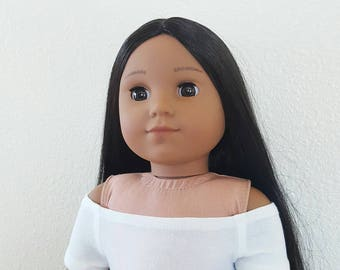 White off the shoulder knit top for 18 inch dolls by The Glam Doll
