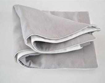 Baby blanket, crib blanket, linen blanket   -  gray linen