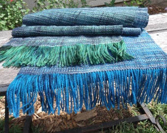 100% Wool Blue Green Gradient Scarf Handwoven