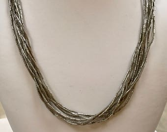 Vintage  925 Sterling Silver Multi Strand Necklace With Beads!!!