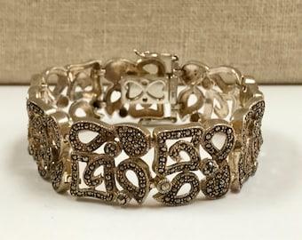 "Vintage 925 Sterling Silver And Macasite Women's Link  Bracelet!!! 7.5 "" Long"
