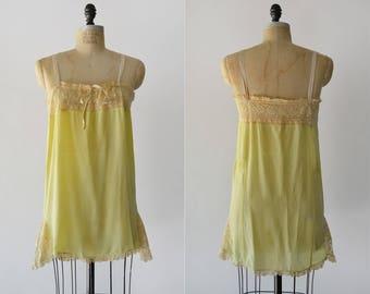 Made in Heaven Slip / 1920s chartreuse silk teddy / vintage lingerie slip