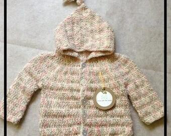 Crochet Buttoned Baby Girls Hoodie,, 3-6 months, Handmade, Crochet, Baby Hoodie, Baby Sweater, Baby Cardigan