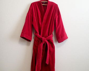 Red Terry Cloth Robe One Size - Soft and Luxuriously Thick