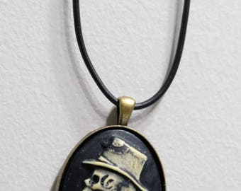 Skeleton cameo necklace