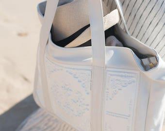 White big shoulder bag / non leather handbag / designer handbag / white PVC handbag / standout statement bag / embossed print in vinyl
