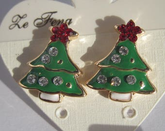 Earrings Metal Christmas tree pattern (B0 N9)