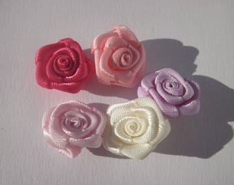 5 fabric bow in the shape of flower 12-13 mm (AD16)