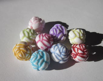 9 round beads flower acrylic colored 12 mm (Z4)