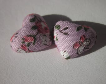 2 heart applique in fabric on metal stick 1.6 cm (W21)