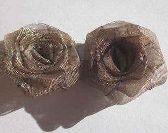 2 large Brown Brown - (A211 organza bows