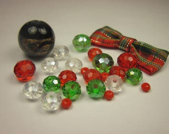 26 assorted glass beads (B58) fabric bow