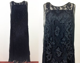 Vintage 1920s Black Silk Chiffon and Lace Flapper Dress 20s