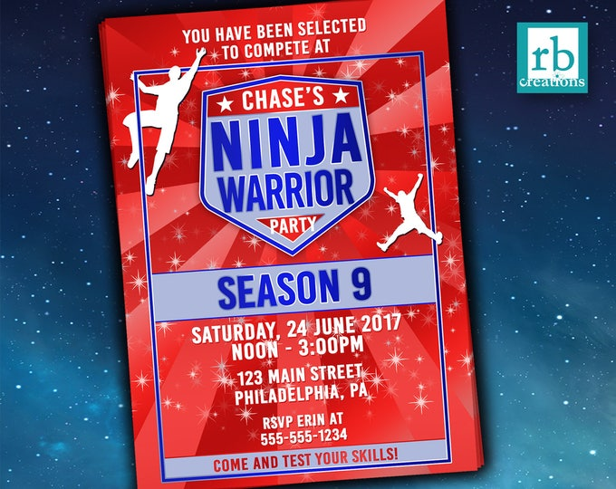 Ninja Warrior Birthday Party Invitation, Ninja Warrior Party Invitation, Ninja Warrior Invitation, Ninja Party, ANW  - Digital Printables
