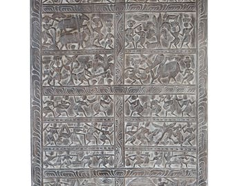 Tribal Vintage India Carving Door Panel Decorative Wall Panel, Wall scuplture,