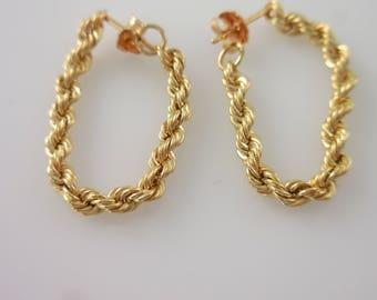 Earrings 14K Yellow Gold Chain Hoops