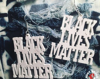 Black Lives Matter Earrings Custom - Wooden Earrings Natural Hair - Women Girls Pierced Unique Eclectic - #BLM The Movement