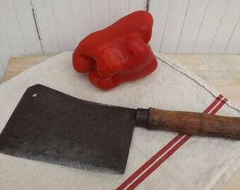 Butchers cleaver chopper vintage French hachoir butchers meat cleaver vintage chopper chefs kitchen knife hachoir ancien feuille de boucher