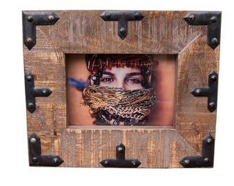 Wood Picture Frame, 5x7 Frame, 4x6 Frame, Handmade Frame, Rustic Home, Wedding Frame, Reclaimed Wood Frame, Metal Frame, Easter Gift