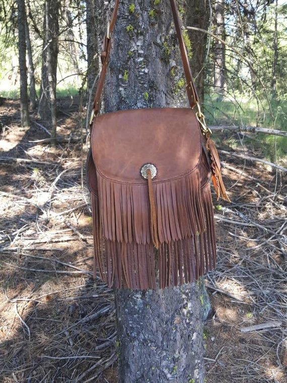 Bison Leather Cross Body Purse, Bohemian Style Leather Bag