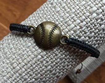 Brass Baseball Softball Adjustable Bracelet