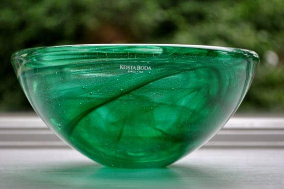 Swedish Kosta Boda Atoll Green Glass Bowl Large Anna Ehrner Scandinavian Modern