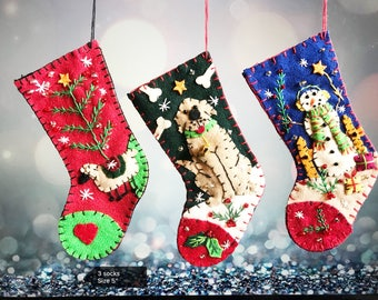 Christmas lamb / dog / snowman stocking Handcrafted felt Christmas tree decoration / primitive felt hanging ornament felt / felt ornament