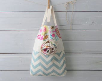Medium Size Teal and Cream Chevron Tote Bag with Hand Knit Flower
