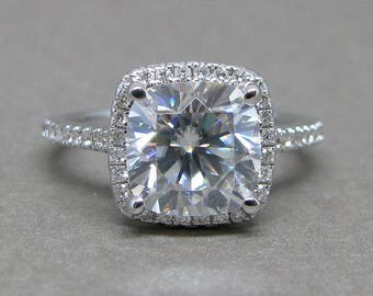 Cushion Cut Forever One Moissanite Diamond Engagement Ring 14k White Gold 8mm Halo Colorless