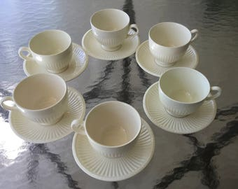 1-6 Wedgwood EDME Footed Cup & Saucer Sets Queen's Ware Creamware Vintage England