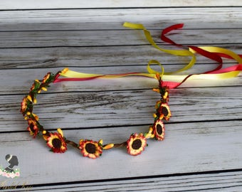 Handcrafted Red and Yellow Sunflower Crown - Adult Sunflower Crown - Sunflower Wedding - Sunflower Flower Girl - Sunflower Headband - Bridal