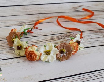 Handcrafted Vintage Style Fall Flower Crown - Ivory Orange and Neutral Brown - Wildflower Crown - Fall Wedding Hair - Photoshoot Accessory