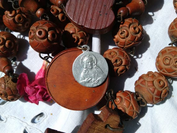 Antique Aluminium French Sacred Heart of Jesus and Mother and Child Medal  #sophieladydeparis