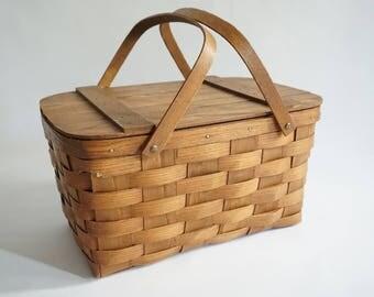Basketville Split Oak Picnic Basket, Woven Split Oak Basket w/ Handles, Vintage Picnic Basket w/ Hard Top, Some Damage, Free Ship