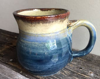 Mug Ceramic Handmade wheel thrown pottery blue tan brown