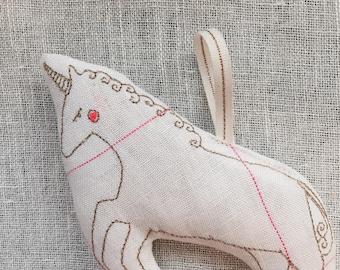 Machine Embroidered Unicorn Ornament, Gold, Single Ornament, Lavender Scented, READY TO SHIP,