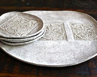 Stoneware Serving Platter set in white matte speckled-Ceramic Serving set-Pottery Platter with side plates-Ceramic Tray set-handmade platter