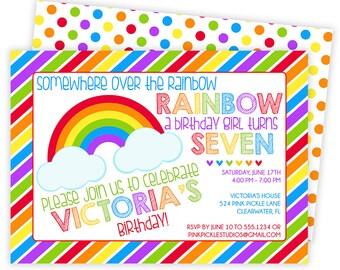 Rainbow Invitation, Rainbow Party, Rainbow Birthday Invitation, Rainbow Birthday, Rainbow Birthday Party, Rainbow Invites,Rainbow Baby | 524