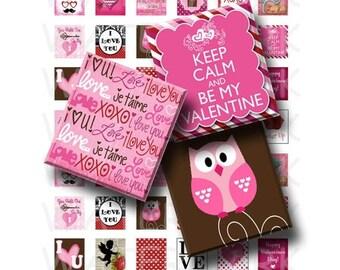 SALE- Happy Valentines - Digital Collage Sheet   - .75 x .83 Scrabble Size - INSTANT DOWNLOAD