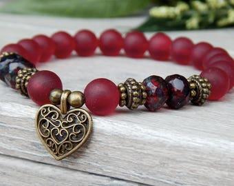 Valentines Bracelet, Heart Charm Bracelet, Valentines Gift, Heart Bracelet, Dark Red Bracelet, Love Bracelet, Sweetheart Bracelet,