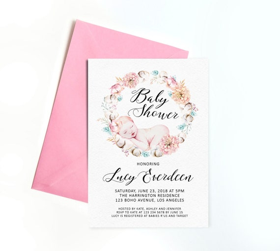 Floral Boho Baby Shower Invitation Personalized Digital Baby Shower