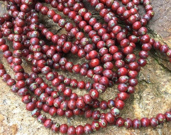 4mm round druk beads, red picasso czech glass beads with picasso finish